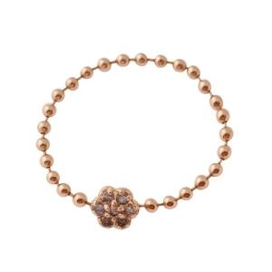 Bague Souple Mini Diamond Lotus Or Rose Ginette NY