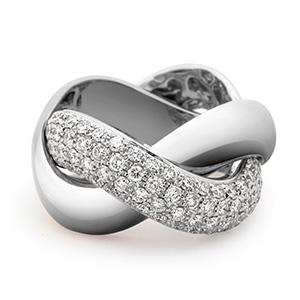 Bague Tresse en Or Blanc et Diamants Blancs de Poiray