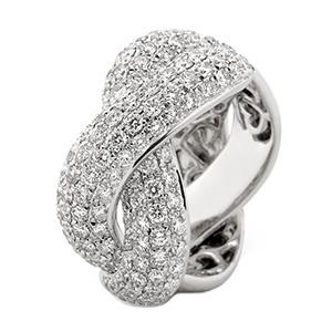 Bague Tresse en Or Blanc et Full Pavage Diamants Blancs de Poiray