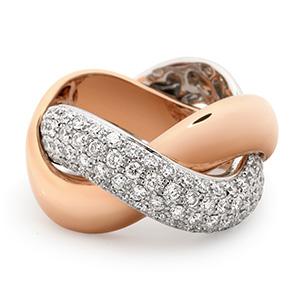 Bague Tresse en Or Blanc Or Rose et Diamants Blancs de Poiray
