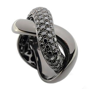 Bague Tresse en Or Noir et Diamants Noirs de Poiray