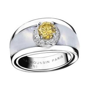 Bague Tu es mon Soleil Or Blanc Nacre Diamant Jaune Mauboussin