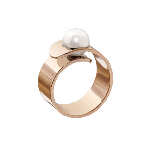 Bague Vertige Perle d'Akoya Blanche Or Rose Dinh Van