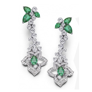 Boucles d'Oreilles en Or Blanc Diamants Émeraudes de Piaget