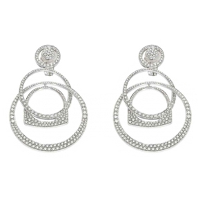 Boucles d'Oreilles Success Mobile Or Blanc Pavées Diamants Fred