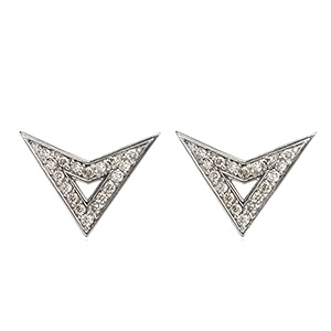 Boucles d'Oreilles Jerry Or Blanc Diamants Gris de Deborah Pagani