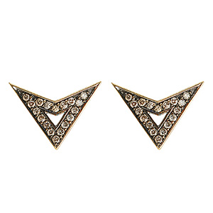 Boucles d'Oreilles Jerry Or Jaune et Diamants Gris de Deborah Pagani