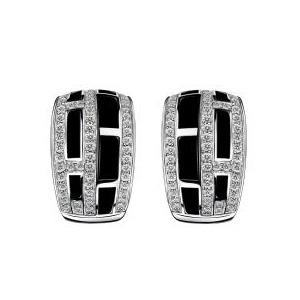 Boucles d'oreilles le Vice et la Vertu Or Blanc Diamants laque Mauboussin