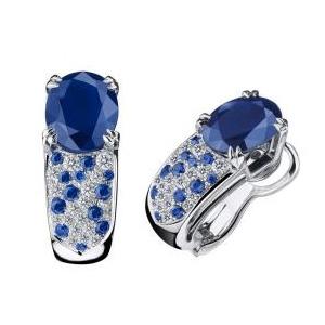 Boucles d'Oreilles Nuit d'Amour Or Blanc Saphirs Diamants Mauboussin