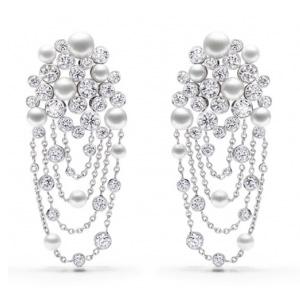 Boucles d'Oreilles Diamants et Perles Blanches de Piaget