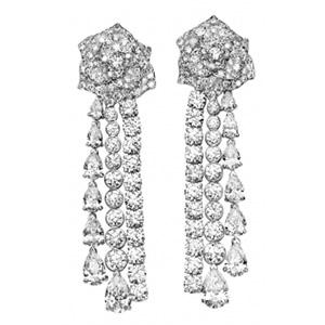 Boucles d'Oreilles Or Blanc Diamants Taille Poire de Piaget