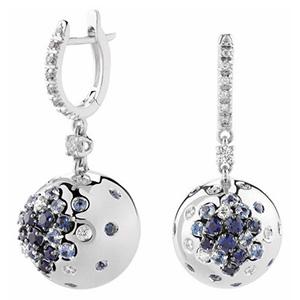 Boucles d'Oreilles Paradise en Or Blanc Saphirs et Diamants Damiani