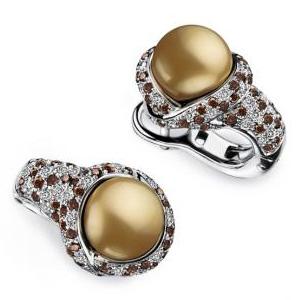 Boucles d'oreilles Perle Gold Or Blanc Diamants Cognac Mauboussin