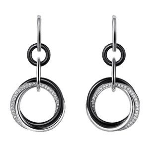 Boucles d'Oreilles Trinity en Céramique Noire et Diamants de Cartier