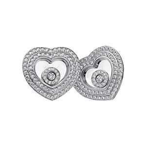 Boucles d'Oreilles Coeur en Or Blanc et Diamants Mobiles Chopard