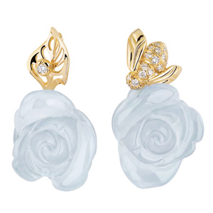 Boucles d'Oreilles Rose Pré Catelan Calcédoines Bleues Dior Joaillerie