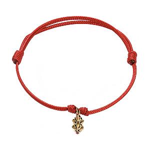 Bracelet Cordon Micro Dorje Rubis Or Jaune Shamballa