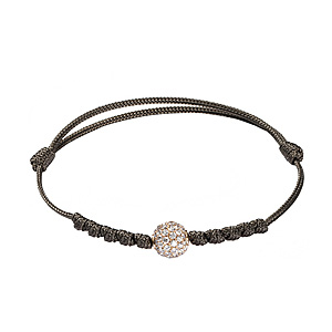 Bracelet Cordon Orbite Diamants Blancs Or Rose Shamballa