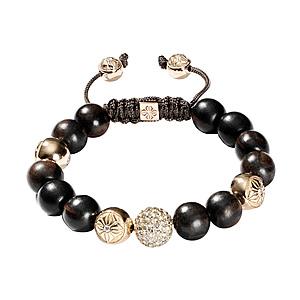 Bracelet Diamants Blancs Ébène Or Jaune Shamballa