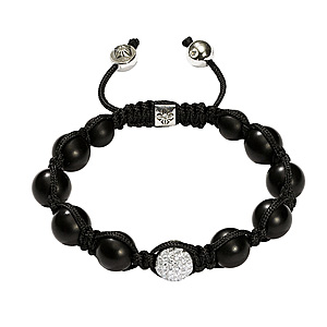 Bracelet Diamants Blancs Onyx Or Blanc Shamballa