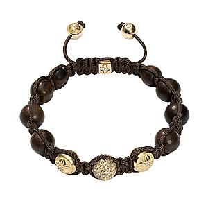 Bracelet Diamants Bruns Ébène Or Jaune Shamballa