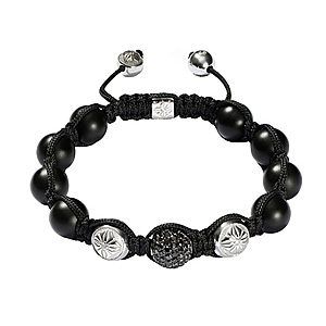 Bracelet Diamants Noirs Onyx Or Blanc Shamballa