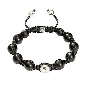 Bracelet Fil Soie Or Blanc Onyx Shamballa