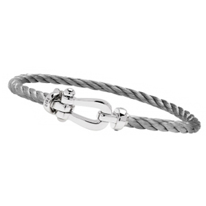 Bracelet Force 10 Or Blanc Câble Acier Fred