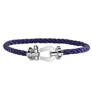 Bracelet Force 10 Or Blanc Câble Acier Violet Fred
