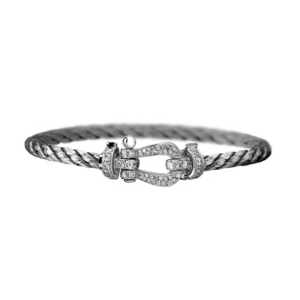 Bracelet Force 10 Or Blanc Diamants Câble Acier Fred