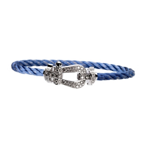 Bracelet Force 10 Or Blanc Diamants Câble Bleu Fred