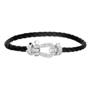 Bracelet Force 10 Or Blanc Diamants Câble Noir Fred