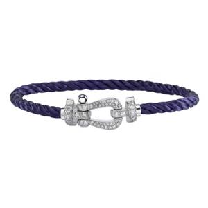 Bracelet Force 10 Or Blanc Diamants Câble Violet Fred