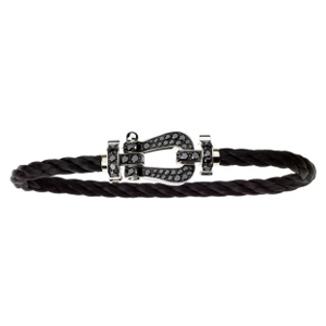 Bracelet Force 10 Or Blanc Diamants Noirs Câble Noir Fred