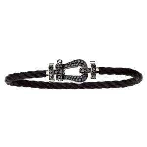 Bracelet Force 10 Or Blanc Diamants Noirs Câble Noir Fred