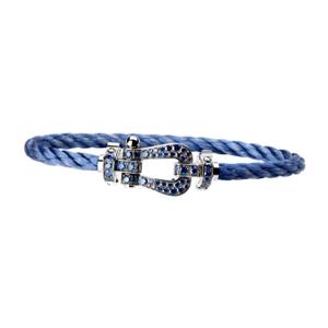 Bracelet Force 10 Or Blanc Saphirs Câble Bleu Fred