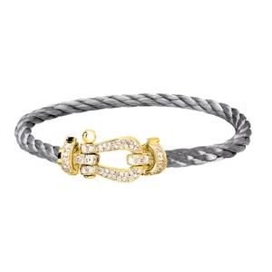 Bracelet Force 10 Or Jaune Diamants Câble Acier Fred