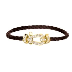 Bracelet Force 10 Or Jaune Diamants Câble Chocolat Fred