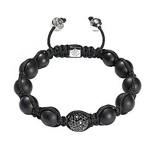 Bracelet Pavage Diamants Noirs Onyx Or Blanc Shamballa