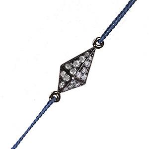Bracelet Pyramide Cordon Bleu Or Noir Diamants Gris Deborah Pagani