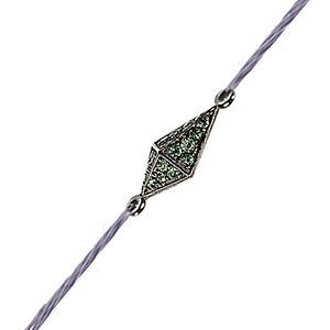 Bracelet Pyramide Cordon Or Noir Diamants Verts de Deborah Pagani