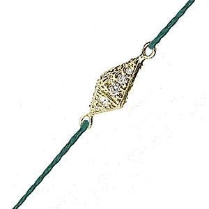Bracelet Pyramide sur Cordon Vert Or et Diamants de Deborah Pagani