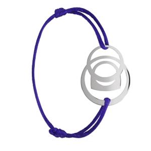 Bracelet Success Mobile Or Blanc Cordon Violet Fred