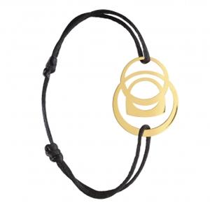 Bracelet Success Mobile Or Jaune Cordon Noir Fred