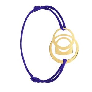 Bracelet Success Mobile Or Jaune Cordon Violet Fred