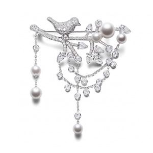 Broche en Or Blanc, Diamants et Perles Blanches de Piaget