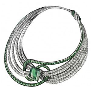 Collier Clef de Sol Émeraude Colombienne et Diamants de Adler