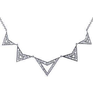 Collier Jerry Five Stud Or Blanc Diamants Gris de Deborah Pagani