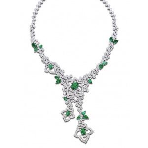 Collier Or Blanc Diamants et Émeraudes Ovales de Piaget