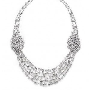 Collier Or Blanc Diamants et Perles Blanches de Piaget
